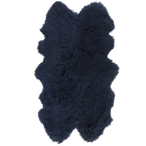 NSW Leather Navy Mongolian Sheepskin Throw Rug