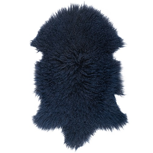 NSW Leather Navy Mongolian Sheepskin Rug