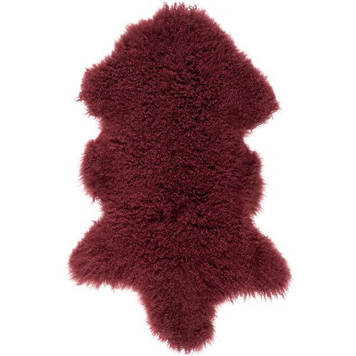NSW Leather Wine Mongolian Sheepskin Rug