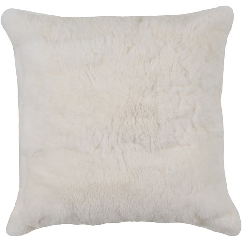 NSW Leather White Rabbit Fur Cushion
