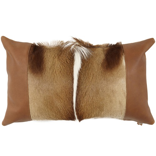 NSW Leather Natural Springbok Lumber Cushion