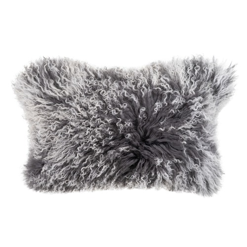 NSW Leather Charcoal Rectangular Mongolian Sheepskin Cushion