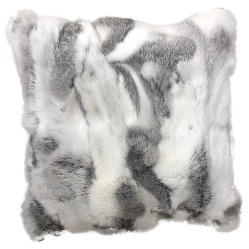 NSW Leather Grey & White Rabbit Fur Cushion