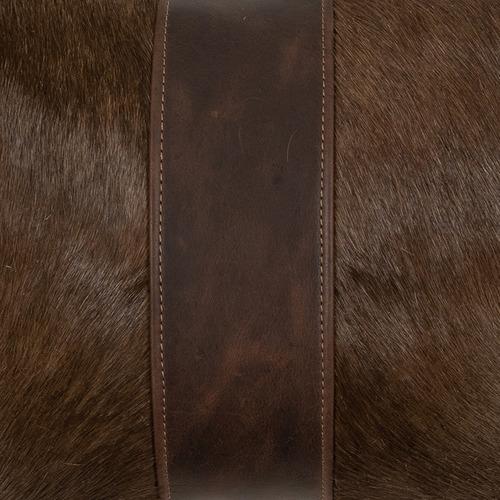 NSW Leather Dark Brown Blesbok Hide Lumbar Cushion