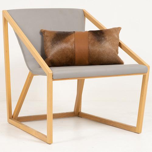 NSW Leather Tan Hartebeest Hide & Leather Band Lumbar Cushion