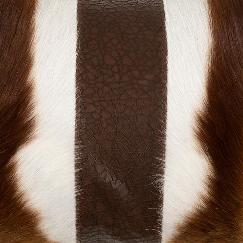 NSW Leather Brown & Beige Springbok Hide Lumbar Cushion