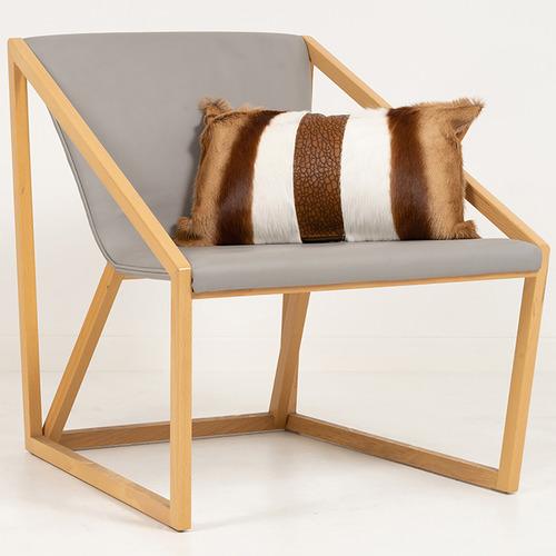 NSW Leather Tan & Beige Springbok Hide Lumbar Cushion
