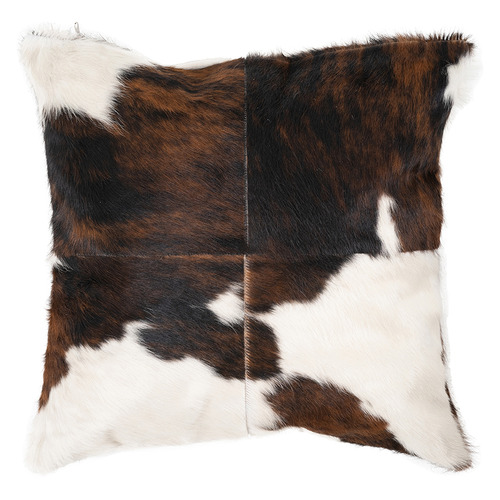 NSW Leather Tri-Colour Cowhide Patchwork Throw Cushion