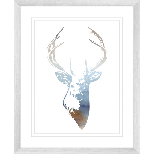 Deer One Of Two Watercolour Silhouette Print Temple