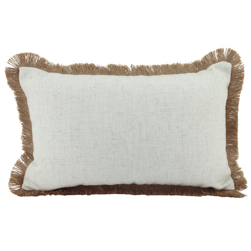 Fringed Basic Rectangular Linen & Jute Cushion