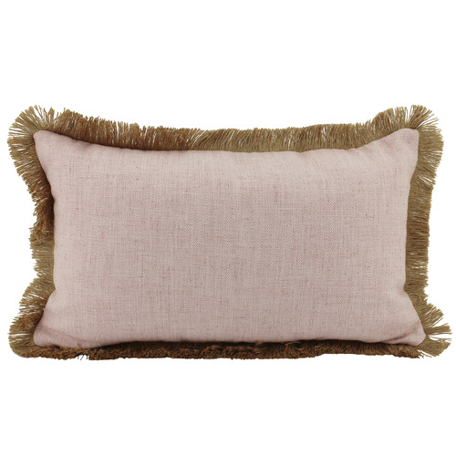 Fringed Basic Rectangular Linen & Jute Cushion