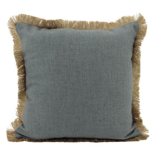 Fringed Basic Square Linen & Jute Cushion