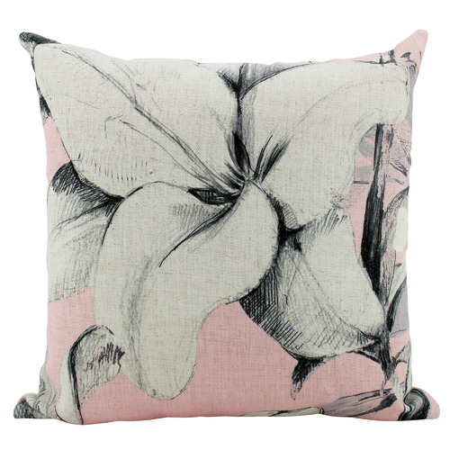Nicholas Agency & Co Pink Large Lilies Square Cushion