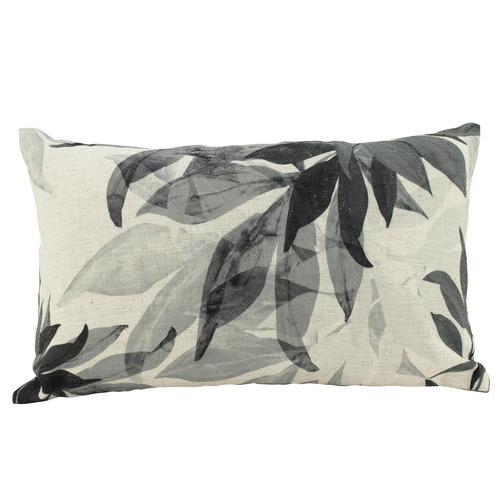 Nicholas Agency & Co Grey Leaves Rectangular Cushion