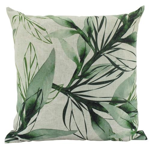 Watercolour Leaves Square Linen Cushion
