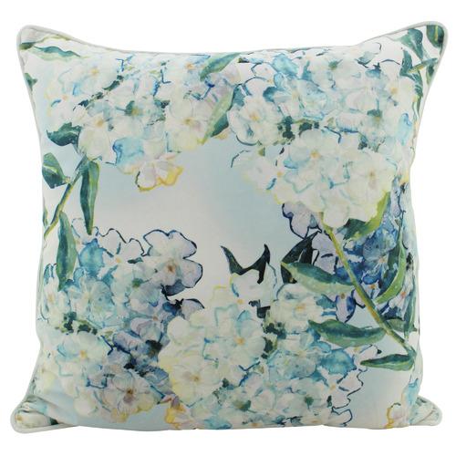 Blue Hydrangea Square Velvet Cushion