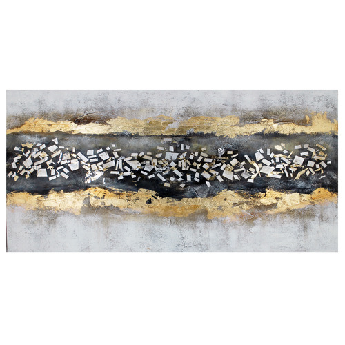 Nicholas Agency & Co Golden Milkyway Hand Painted Textured Canvas Wall Art with Mosaic applique