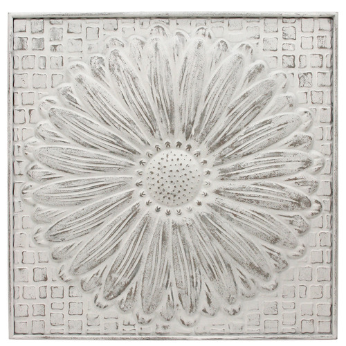 Nicholas Agency & Co White Washed Flower Metal Wall Accent