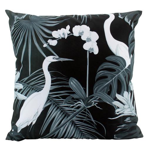 Monochrome Crane Outdoor Cushion