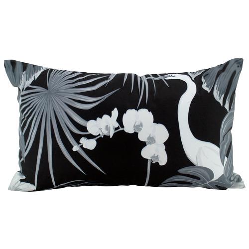 Nicholas Agency & Co Monochrome Crane Outdoor Lumbar Cushion