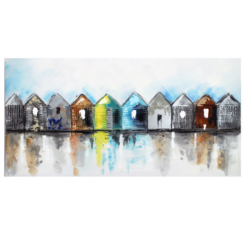 Nicholas Agency & Co Beach Huts Canvas Wall Art