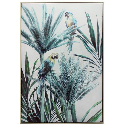 Nicholas Agency & Co Twin Macaw Palm Framed Canvas Wall Art