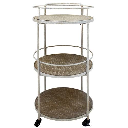 Nicholas Agency & Co White Wash Marlee Round Metal Bar Cart
