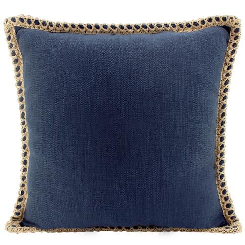Trimmed Border Square Linen-Blend Cushion