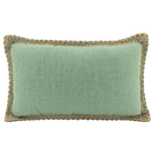 Trimmed Border Rectangular Linen-Blend Cushion