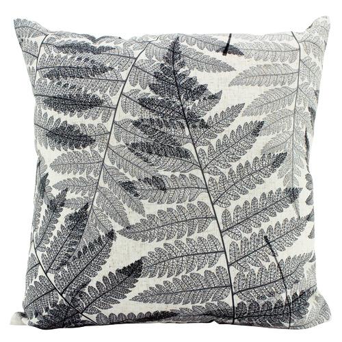 Black & White Ferns Linen-Blend Cushion