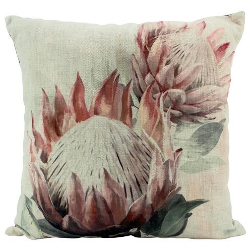 Nicholas Agency & Co Double Protea Soft Linen-Blend Cushion