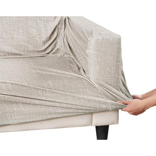 Home Innovations Sand Faux Linen Stretch Sofa Cover