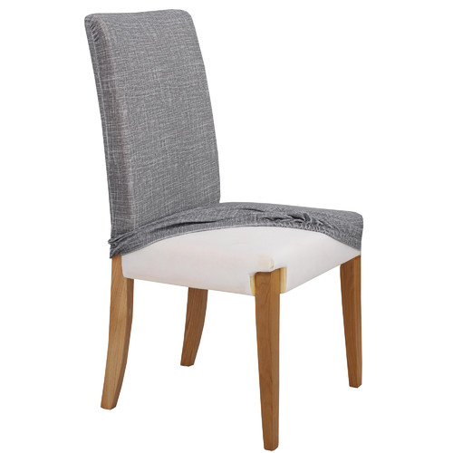 Home Innovations Grey Faux Linen Stretch Dining Room Chair Cover