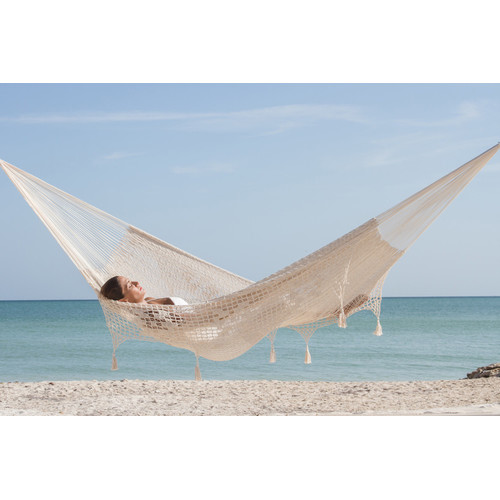 Mayan Legacy Cotton Hammock with Fringe in Cream