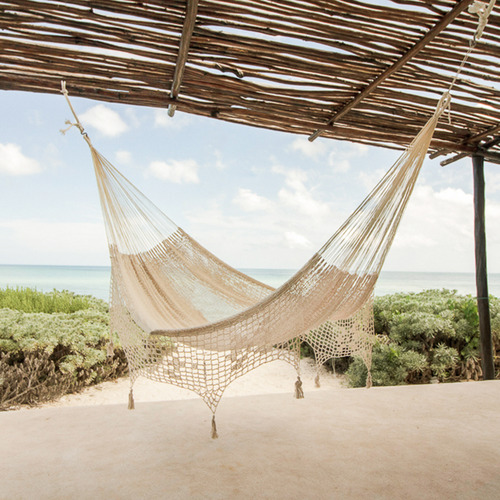 Leyla & Sol Cotton Hammock with Fringe in Cream