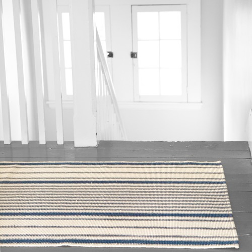 Dash & Albert Rug Company Blue Matteo Ticking Stripe Cotton Rug