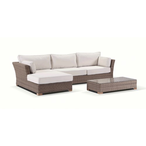 Greenport Outdoor Coco 3 Seater PE Wicker Outdoor Lounge Set