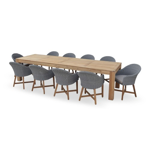 Entertainer 10 Seater Outdoor Teak Table With Coastal Chairs