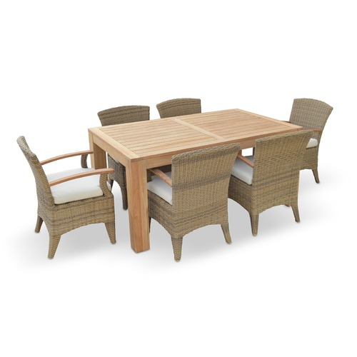 Greenport Outdoor Entertainer 6 Seater Outdoor Teak Table with Kai Chairs