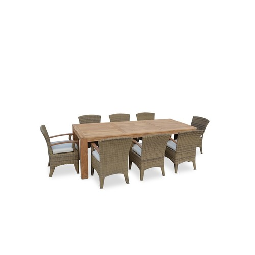 Greenport Outdoor 8 Seater Outdoor Teak Table with Violet Chairs