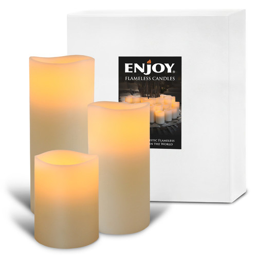 Enjoy Lighting Triology Classic Ivory Smooth LED Wax Pillar with Timer
