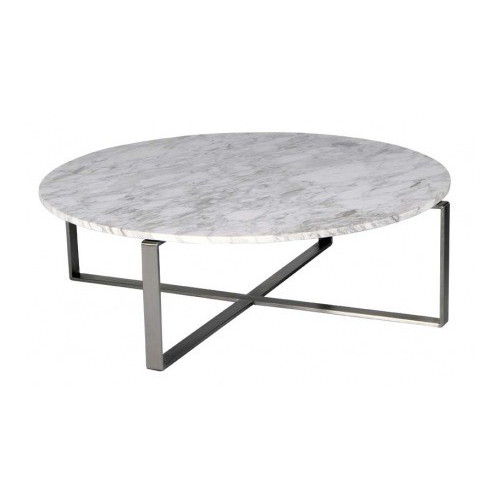 R&V Living Mercy Round Marble Coffee Table