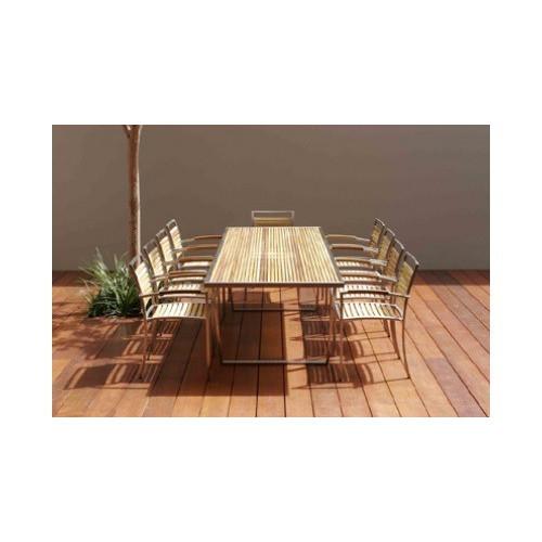 R&V Living Kauai 8 Seater Teak & Steel Dining Table only