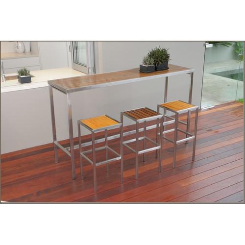 R&V Living Kauai Steel & Teak High Bar Table
