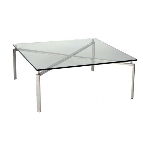 R&V Living Square Steel and Glass Coffee Table
