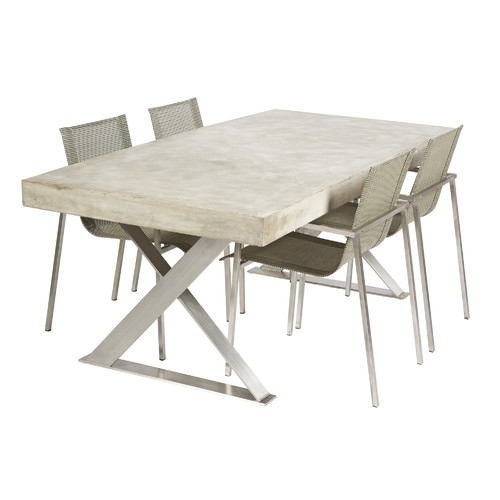 R&V Living Peninsula Cement Fibre Table with LYN Base
