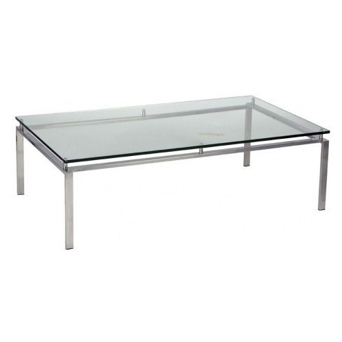 R&V Living Stainless Steel Frame & Glass Coffee Table