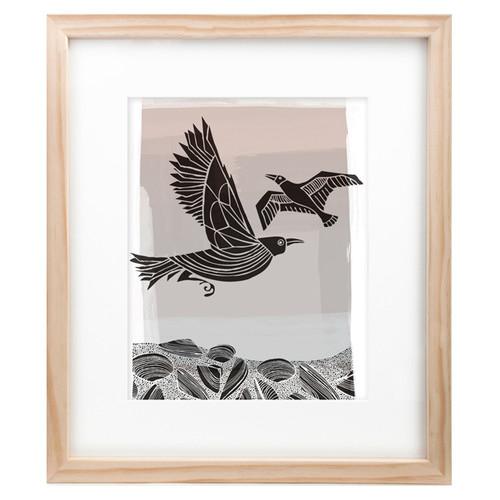 Corban & Blair Crow & Seagull Black Framed Print