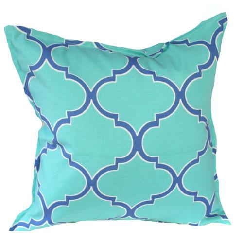 Bungalow Living Aqua & Blue Fretwork Indoor/Outdoor Cushion