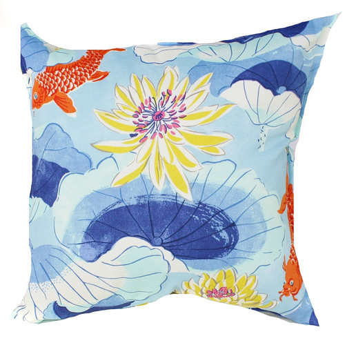 Bungalow Living Blue Koy Fish Indoor/Outdoor Cushion